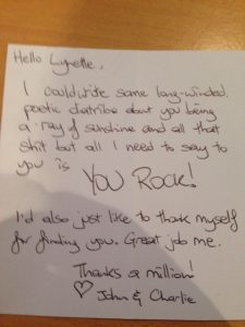 A gorgeous thank you note from a loved up couple