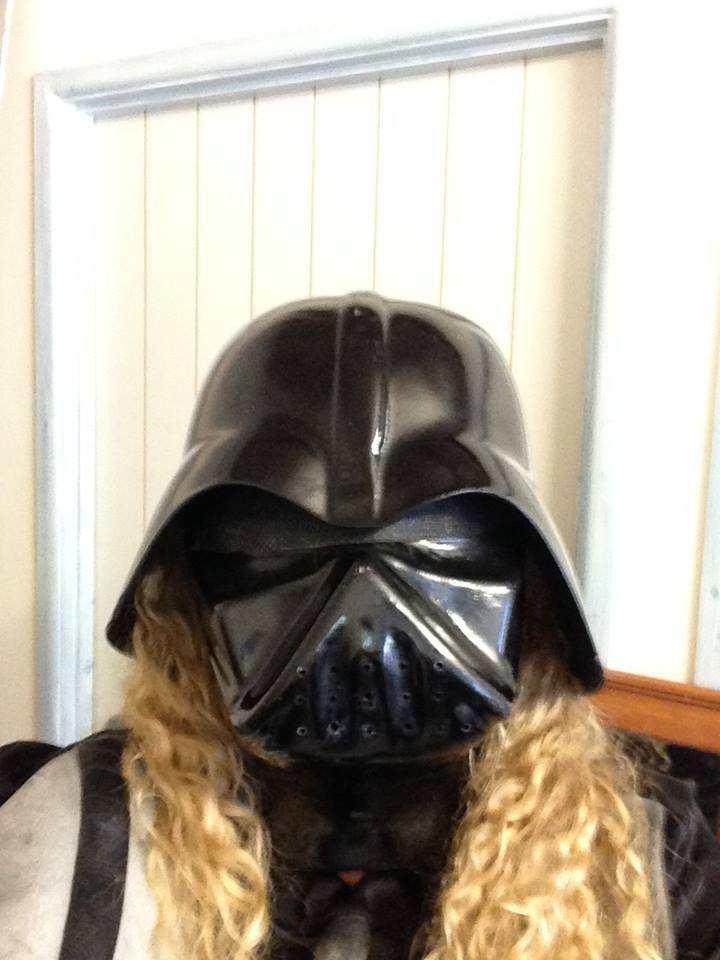 A curly blonde haired Darth Vadar