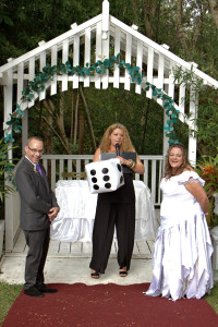 Kick a blow up dice - highest number goes first for saying vows